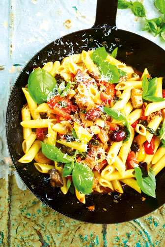 Penne with Peppers & Aubergines