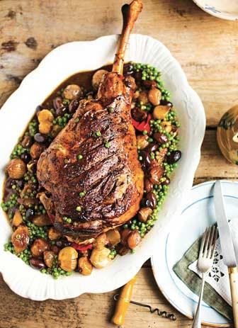 Slow Cook Italian: Roast lamb with peas & baby onions